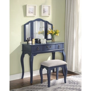 ACME Abelus Vanity Set in Tan Velvet and Blue Gray