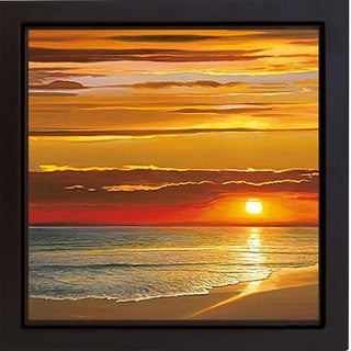Sunset on the Sea by Dan Werner Black Floater Framed Canvas Giclee Art (20 in x 20 in, Ready to Hang)