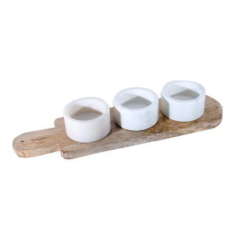 White Marble Stone with Acacia Wood Tray Pinch Pot 4 Pcs. Set.
