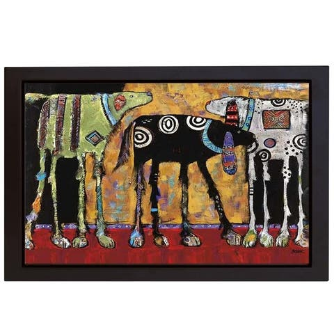Looking For Trouble by Jenny Foster Black Floater Framed Canvas Giclee Art (18 in H x 26 in W, Ready to Hang)