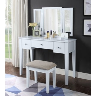 ACME Severus Vanity Set in Tan Velvet and White