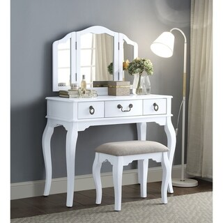 ACME Abelus Vanity Set in Tan Velvet and White