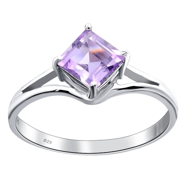 0.60 Ct. Princess Shape Amethyst 925 Sterling Silver Solitaire Ring