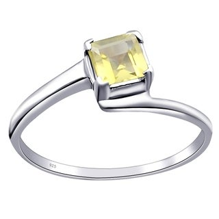 Orchid Jewelry 0.60 Cts Lemon Quartz Sterling Silver Solitaire Ring
