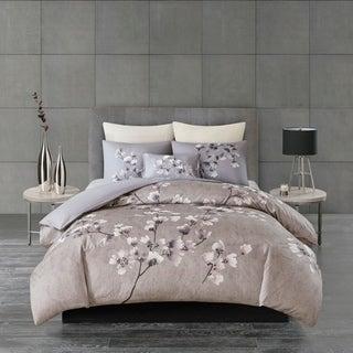 N Natori Sakura Blossom Lilac Cotton Sateen Printed Comforter Set
