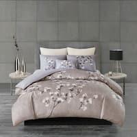 N Natori Sakura Blossom Lilac Cotton Sateen Printed Duvet Cover Set