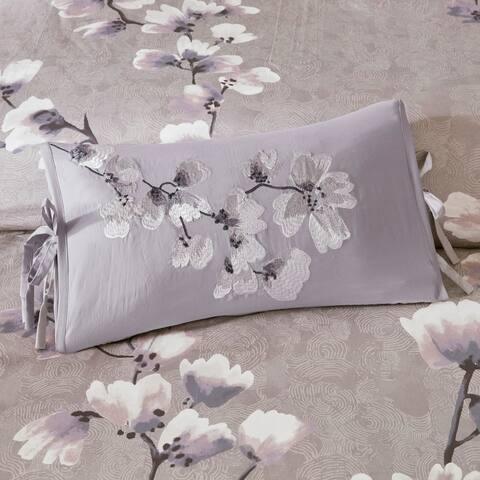 N Natori Sakura Blossom Lilac Embroidered Cotton Oblong Decorative Pillow