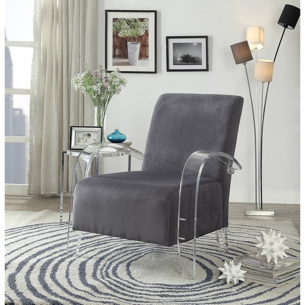 Shop Acme Malyssa Accent Chair In Charcoal Amp Clear Acrylic