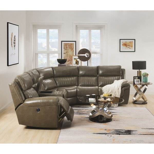 ACME Lonna Power Motion Sectional Sofa in Taupe Leather-Gel