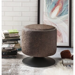 ACME Ossian Ottoman in Vintage Mocha PU and Sandy Black
