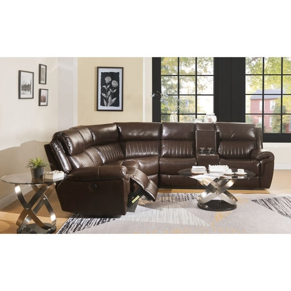 ACME Lonna Power Motion Sectional Sofa in Brown Leather-Gel
