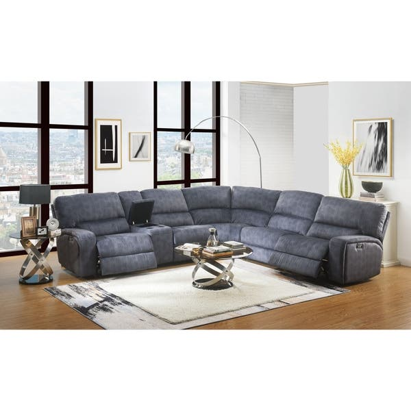 Magnificent Shop Acme Saul Power Motion Sectional Sofa In Blue Denim Gmtry Best Dining Table And Chair Ideas Images Gmtryco