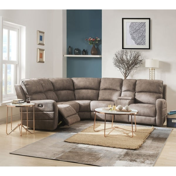 ACME Olwen Power Motion Sectional Sofa with USB Power Dock in Mocha Nubuck