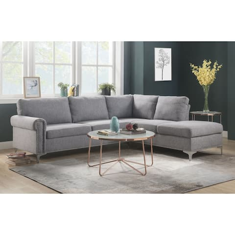 ACME Melvyn Sectional Sofa in Gray Fabric