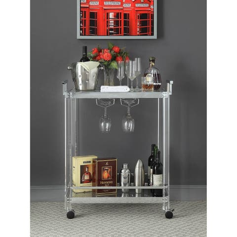 ACME Araldo Serving Cart in Clear Acrylic, Chrome & Clear Glass