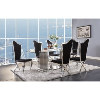 Link to ACME Cyrene Dining Table with Double Pedestal in Stainless Steel and Clear Glass Similar Items in Dining Room & Bar Furniture