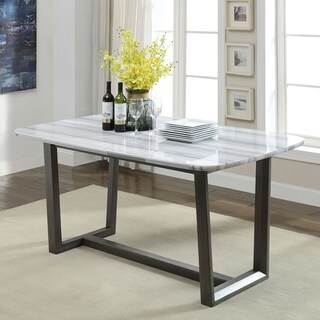 ACME Madan Dining Table in Marble and Gray Oak
