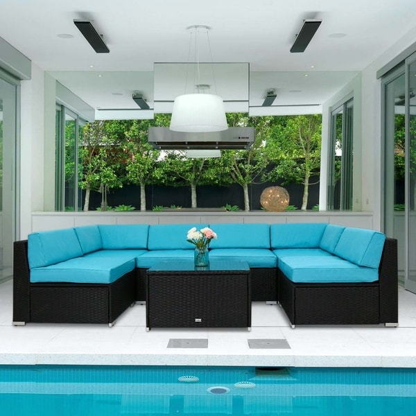 Outdoor Wicker Sectional Sofa For Sale: Shop Kinbor 7 Pcs Outdoor Cushioned Rattan Wicker Sofa