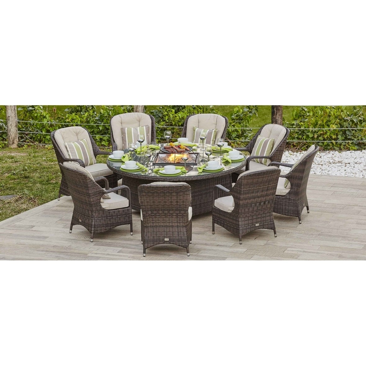 Ellington Outdoor Propane 8 Seat Round Gas Fire Pit Table Table Only Overstock 24268843