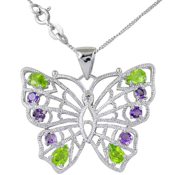 Sterling Silver Rhodium-plated Amethyst /& Diamond Butterfly Prong Set Pendant