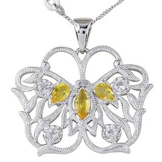 925 Sterling Silver Citrine, White Topaz & Diamond Butterfly Pendant