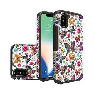 INSTEN Multi-color Butterfly Flower Polka Dot Floral Dual Layer Hybrid PC/TPU Rubber Case Cover for Apple iPhone XS Max