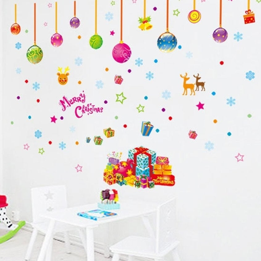 Christmas Wall Decals Removable.Diy Merry Christmas Wall Decoration Stickers Removable Rooms Wall Decals