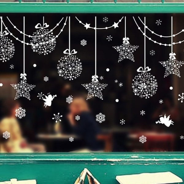 Christmas Snowball Wall Window Sticker PVC Home Shop Display Window Decals