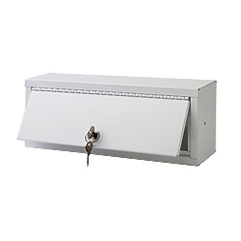 "Ketcham Cabinets Surface Mounted Steel Lockable Storage Box in White Baked Enamel Finish - 13""W x 5""H"
