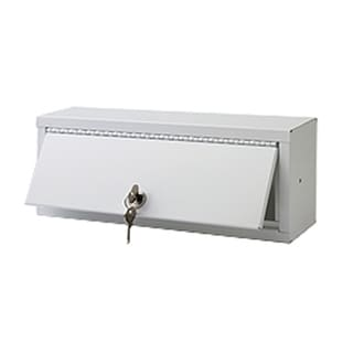"""Ketcham Cabinets Surface Mounted Steel Lockable Storage Box in White Baked Enamel Finish - 13""""W x 5""""H"""