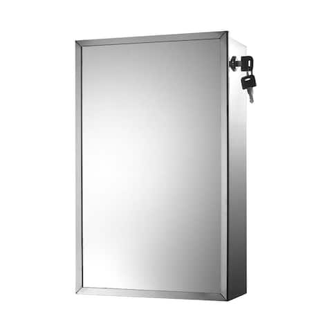"Ketcham Cabinets Side Keyed Lock Surface Mounted Stainless Steel Medicine Cabinet - 9. 75""W x 15. 75""H"