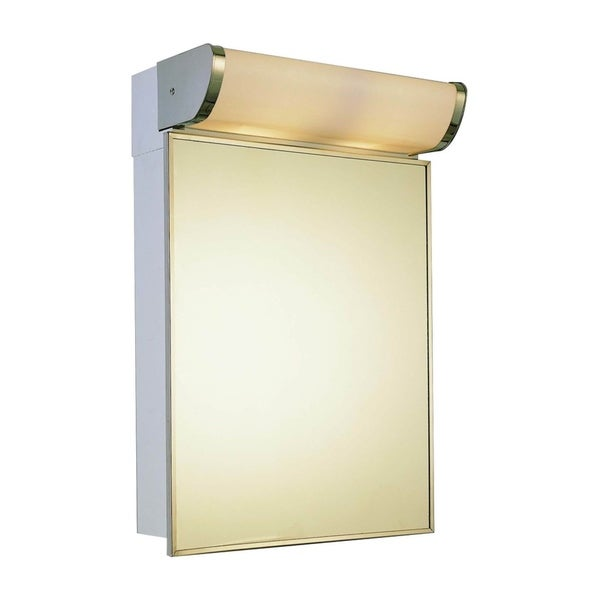 "Ketcham Cabinets Traditional LED Top Light Surface Mounted Stainless Steel Cabinet - 16""W x 23. 25""H"