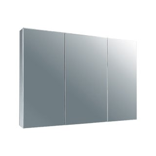 """Ketcham Cabinets Tri View Surface Mounted Polished Edged Mirror Door Stainless Steel Medicine Cabinet - 37""""W x 22""""H"""