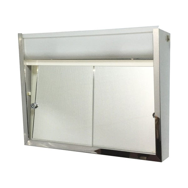 """Ketcham Cabinets Surface Mounted Sliding Door Steel Medicine Cabinet with Light - 24""""W x 19""""H"""