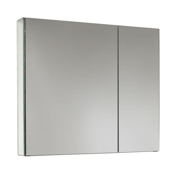 """Ketcham Cabinets Premier Aluminum Dual Door Recessed Mounted Medicine Cabinet with Polished Edge Mirror - 31""""W x 28""""H"""