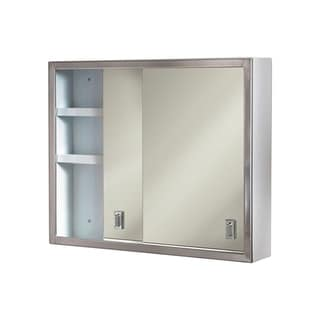 """Ketcham Cabinets Surface Mounted Sliding Door Medicine Cabinet with Polished Edge Mirror - 24""""W x 20""""H"""