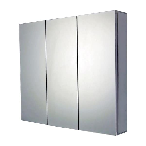 """Ketcham Cabinets Premier Aluminum Tri View Surface Mounted Medicine Cabinet with Polished Edge Mirror - 26""""W x 25""""H"""