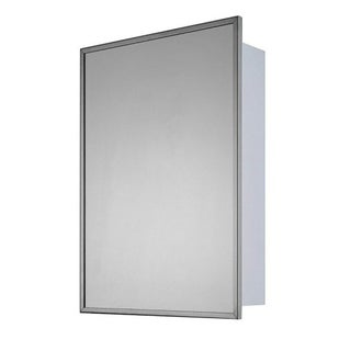 "Ketcham Cabinets Recessed Mounted Stainless Steel Single Door Medicine Cabinet - 16""W x 22""H"