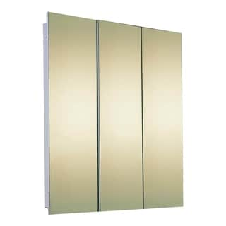 """Ketcham Cabinets Tri View Semi Recessed Steel Medicine Cabinet with Polished Edge Mirror - 48""""W x 30""""H"""