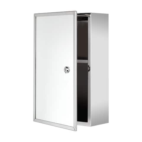 "Ketcham Cabinets Front Keyed Lock Surface Mounted Polished Stainless Steel Medicine Cabinet - 9. 75""W x 15. 75""H"