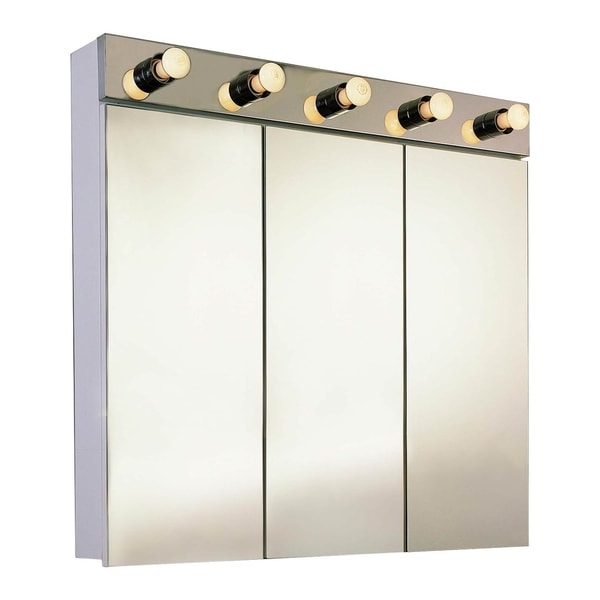 """Ketcham Cabinets Tri View Surface Mounted Steel Medicine Cabinet with Light - 48""""W x 34""""H"""