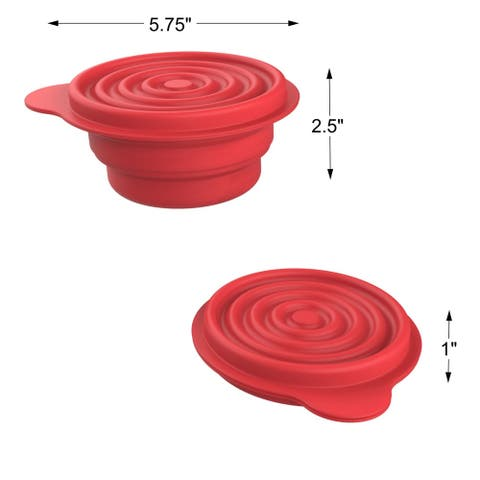 Collapsible Bowls with Lids BPA Free Silicone by Wakeman Outdoors