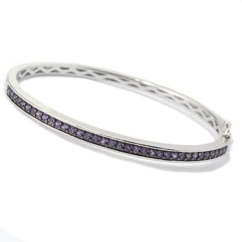 Sterling Silver Round Amethyst Bangle Bracelet