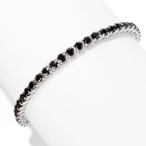 Pinctore Sterling Silver Spinel Round Tennis Bracelet