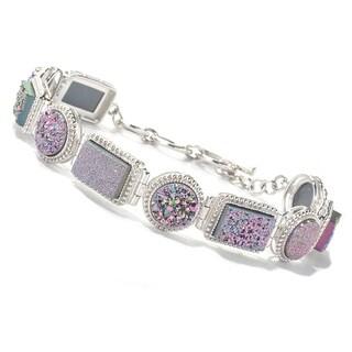"Pinctore Sterling Silver 8"" Rectangular & Round Pink Drusy Link Bracelet"