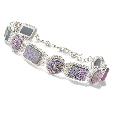 "Sterling Silver 8"" Rectangular & Round Pink Drusy Link Bracelet"