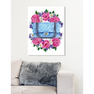 Oliver Gal 'Doll Memories - Pastel Blues' Floral Pink Contemporary Wall Art Canvas Print