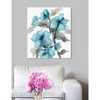 Oliver Gal 'Turquoise Flowers' Floral Blue Contemporary Wall Art Canvas Print
