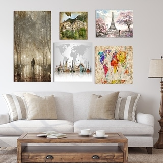 Designart - World Collection - Traditional Wall Art set of 5 pieces - Multi-color