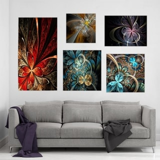 Designart - Abstract Collection - Abstract Wall Art set of 5 pieces - Multi-color